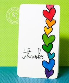 I have two simple cards. cards that take my back to my childhood. I was obsessed with rainbows as a kid. Especially rainbow stickers. Tarjetas Diy, Rainbow Card, Kids Rainbow, Rainbow Room, Heart Cards, Watercolor Cards, Creative Cards, Cute Cards, Homemade Cards