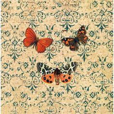 Autumn Butterfly - Handmade Decoupage Under Glass Plate. $65.00, via Etsy.