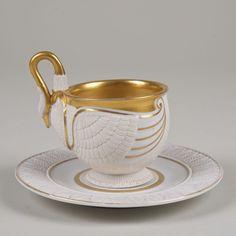 KPM porcelain swan cup and saucer