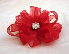 Red Ribbon Flower Hair Clip by WistfulWhimsyDesigns on Etsy, $6.00