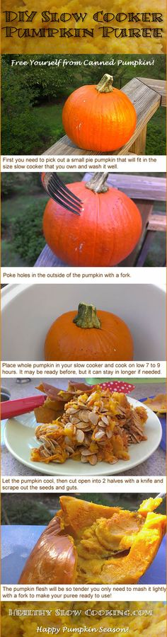 Super-easy diy slow cooker pumpkin puree -  make your own and save money! #healthyslowcooking #pumpkin  #slowcooker
