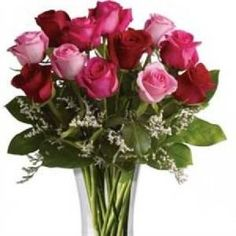 We have a selection of flowers that come complete with a vase. We have roses in a vase as well as various others.