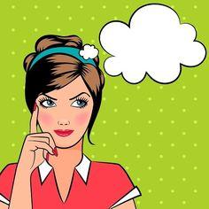 Thinking pop art woman - Graphics