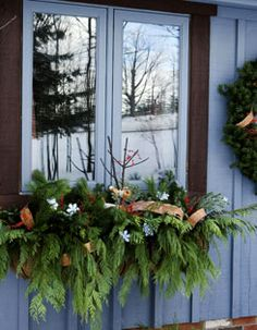 winter greens window box christmas window boxes winter window boxes seasonal decor holiday - Window Box Christmas Decorations