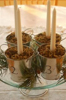 """Blissfully Content: {Advent} Celebrating God's Gift to Us - love this idea for the """"wreath""""! Advent Wreath Candles, Christmas Advent Wreath, Christmas Crafts, Christmas Decorations, Advent Wreaths, Christmas Ideas, Holiday Ideas, Christmas Games, Holiday Decorating"""