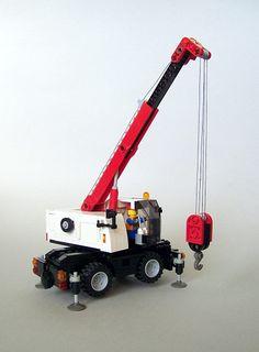 My second minifig scale small crane ; Lego Tractor, Lego Truck, Lego Crane, Toy Crane, Lego City Sets, Lego Sets, Lego Cars Instructions, Lego Wheels, Lego Boat