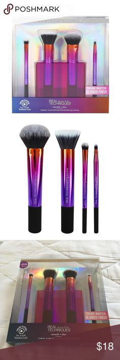 """NEW Real Techniques Smooth + Blur 5 pc. Brush Set Brand new in box! Never opened!! Real Techniques by Sam & Nic LIMITED EDITION Smooth + Blur 5 piece set. Includes 4 makeup brushes & brush cup to store your brushes. Brushes included are: Expert face brush, Shading brush, Lip brush and Stippling brush. """"Achieve a no filter necessary look with the smooth + blur brush set. The brushes have a super cute ombré holographic design. I actually already own this set and LOVE it so I never opened this…"""