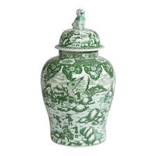 Green and White Foo Dog Jar |