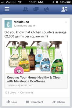 Keep your home healthy and clean with Melaleuca Ecosense. I converted my home to these safer n smarter products! This company made it so easy! You can save more than $53 over buying equivalent amounts of national brands! More info?