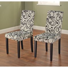 Beautify your dining room with these chic wood dining chairs. Made with a solid wood base, lovely beige and white fabric, and a polyester foam filling, these high-back accent chairs are sturdy, aesthetically pleasing, and comfortable.