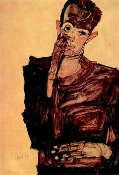 Egon Schiele - Self Portrait with Hand to Cheek, 1910