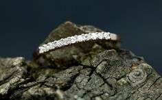 0.14 Carats Diamonds 14k Rose Gold Diamond Stackable Matching Band Diamond Half Eternity Wedding Band Promise Ring (Other Metals Available) by loveforeverjewelrysv on Etsy