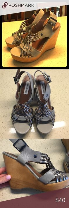 Steve Madden Wedges These are 7.5 Steve Madden grey/metallic wedges with a wood finished wedge. Very comfortable and practically brand new. Steve Madden Shoes Wedges