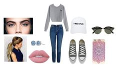 """""""Mille's look💗"""" by emilieantonsen on Polyvore featuring beauty, Topshop, Converse, Lime Crime, NASASEASONS and Ray-Ban"""