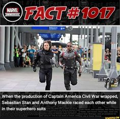 When the production of Captain America Civil War wrapped, Sebastian Stan and Anthony Mackie raced each other while in their superhero suits - iFunny :) Marvel Avengers Movies, Avengers Cast, Disney Marvel, Marvel Dc, Funny Marvel Memes, Marvel Jokes, Marvel Comic Universe, Marvel Cinematic Universe, Loki