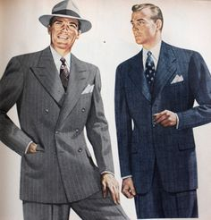 Longer, looser, jackets, double pleated pants, big hats, and even wider ties made their way into late 40's men's fashions. Men were eager to put the war behind them and embrace the clothing they were previously forbidden to wear.