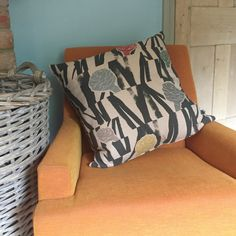 Large hand screen printed cushion with 'Sediment Multi' design. Reverse charcoal grey velvet. 53x53 cm
