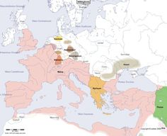 Historical map of Europe in the year 400 AD