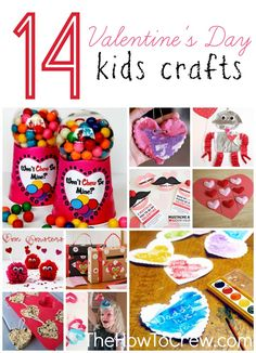 14 Valentine's Day Kids Crafts from TheHowToCrew.com.  The perfect way to spend time with and entertain your kids! #valentinesday #kids #crafts #diy