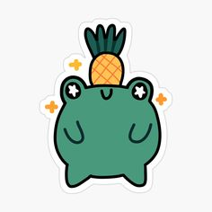 Kawaii Stickers, Laptop Stickers, Cute Frogs, Personalized Notebook, Support Small Business, Aesthetic Stickers, Planner Stickers, Keep It Cleaner, Pineapple