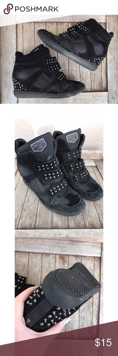 High-top Wedges Black high top wedges with spike details. In pretty great condition with small signs of wear. Shoes Wedges