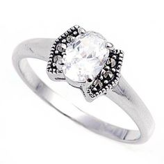 Rhodium Plated Sterling Silver Wedding & Engagement Ring Clear CZ Marcasite Ring 8MM ( Size 5 to 9) Double Accent. $23.99