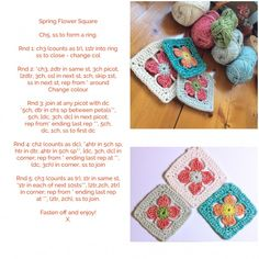 Spring Flower Granny Square Free pattern based on the Japanese Anemone flower. Pretty right? Source: Made With Loops