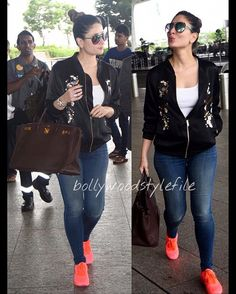 Airport Style ✈️Fab👍🏼or Drab👎🏼? Kareena Kapoor khan snapped at Airport in an embellished jacket and Pink sneakers ❤️❤️❤️ . Bollywood Outfits, Bollywood Fashion, Bollywood Actress, Pink Outfits, Chic Outfits, Summer Outfits, Fashion Outfits, Western Dresses, Western Outfits