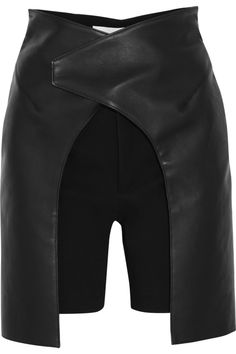 Esteban Cortazar | Leather and stretch-cady shorts | NET-A-PORTER.COM