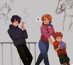 Stardew Valley fanart > Jodi is not too pleased that Sebastian is smoking around Vincent. Character Inspiration, Character Art, Character Design, Stardew Valley Tips, Stardew Valley Fanart, Cartoon Art, Animal Crossing, Art Sketches, Game Art