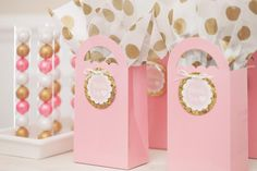 pink and gold favors
