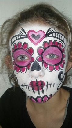 Face paint pink and red sugar skull Halloween