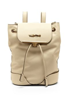 Chiara Backpack Pebbled leather backpack; Foldover top features