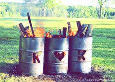 cute idea for a bonfire at an outdoor wedding reception