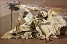 "Jessica Rimondi - ""Transverberazione"", painting, acrlyic, oil and paper on canvas, 47.2 x 70.9 x 1.6 in."