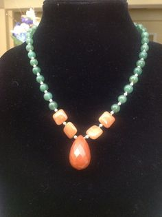 Jade & Carnelian Necklace by JewelryPlusDesigner on Etsy, $49.00