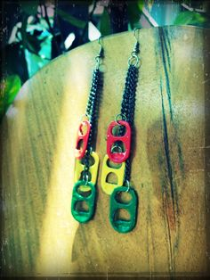 Rasta soda tab earrings. $8.00, via Etsy.