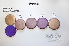 Premo! Copper & Purple Pearl polymer clay color recipe by Syndee Holt for Polyform
