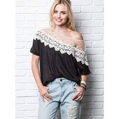 """Cast Your Net"" Crochet Black Top / Tee Crochet shoulder/collar black top. Perfect for a casual weekend! Pair with jeans or leggings for a super chic casual look! Brand new without tags. ABSOLUTELY NO TRADES. Bare Anthology Tops"