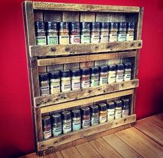 Rustic Pallet Spice Rack