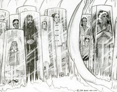 """Betty Andreasson Luca's drawing © 1985 of """"the people of all races and times encased in clear rectangular receptacles"""" for preservation by the non-human beings she called The Watchers, """"who have monitored the Earth for thousands of years."""""""