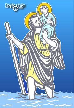 Imagen de San Cristóbal, mártir cristiano asesinado durante el reinado del emperador romano Maximino Decius, venerado en la Iglesia católica y ortodoxa. Vectorial para cortar en plotter disponible en la página: http://www.logo-arte.com/cristobal.htm