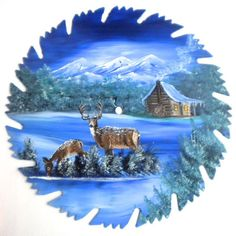 Hand Painted Saw Blade Mountain Winter by LindasMountainCrafts