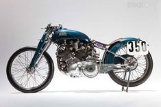 "The most famous Vincent of all time, Marty Dickerson's 1948 Series B Rapide, known as the ""Blue Bike""."
