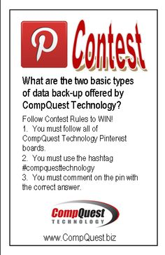 PINTEREST CONTEST! To win you must follow all of CompQuest Technology Pinterest boards; You must use the hashtag #compquesttechnology; You must comment on the pin with the correct answer.