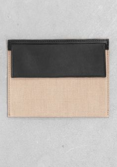 Isabelle Bois leather and fabric pouch