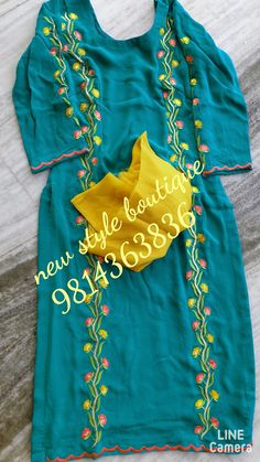 Embroidery Suits Punjabi, Kurti Embroidery Design, Embroidery Fashion, Designer Party Wear Dresses, Indian Designer Outfits, Kurta Designs, Blouse Designs, Ladies Suit Design, Punjabi Suits Designer Boutique