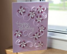 Happy Birthday Card - Purple and Pink Flowers and Vines. 5 x 7 handmade greeting card with envelope -- by SassaScraps, $5.00
