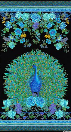 """Enchanted Plume - Peacock Portrait - 24"""" x 44"""" PANEL - Quilt Fabrics from www.eQuilter.com"""