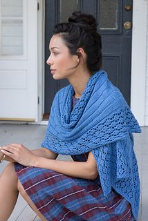 """Vinalhaven Wrap,"" by Kristen Kapur, knit with Berroco Modern Cotton."